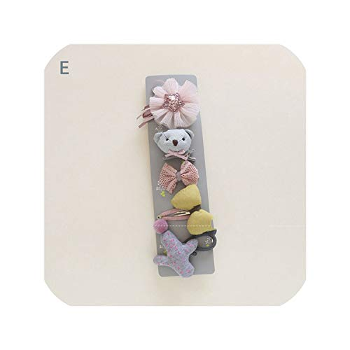 5Pcs/Set New Cute Sweet Headwears Girls Lovely Cartoon Flower Hairpins Kids Children Headbands Baby Hair Accessories Set Gift,5 ()