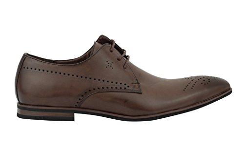 Xposed - Zapatos de cordones de piel sintética para hombre Marrón marrón aHZFW8o6
