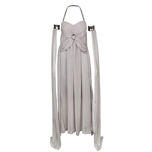 SNXST Halloween Women's Grey Long Train Chiffon Dress Game Of Daenerys Dragons Mother Cosplay Costume (XXX-Large) ()