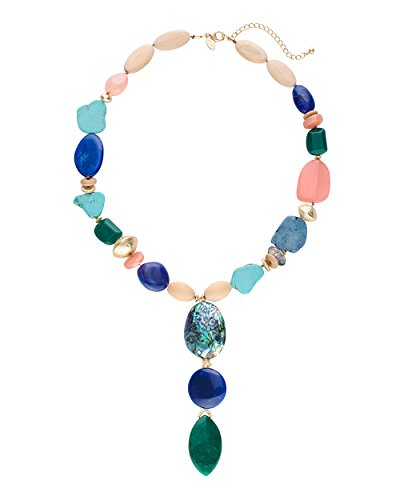 Chicos Womens Multi Colored Single Strand Stone Necklace