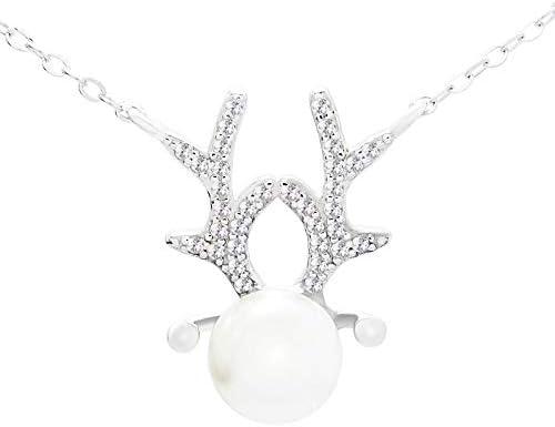 HHHD Collar de Cornamenta Mujer Cadena de clavícula 925 Plata Pura Que la Moda Japonesa y Coreana Cien-Set Perla Colgante Regalo