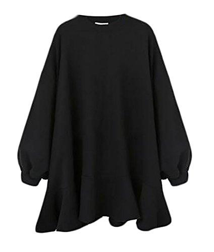 Dress Jaycargogo Black Round Loose Hem Ruffle Autumn Neck Womens Sweatshirt qO71wU8
