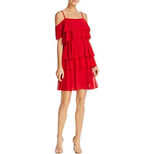 Nanette Nanette Lepore Women's Cold Shoulder Tiered Shift Dress, Red Riding Hood, 10 ()