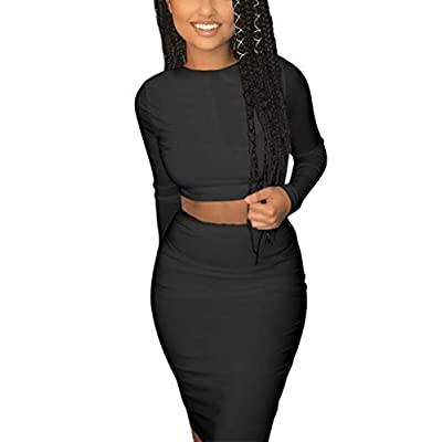 Mokoru Women's Sexy 2 Piece Outfits Crop Top Long Sleeve Bodycon Midi Club Dress: Clothing