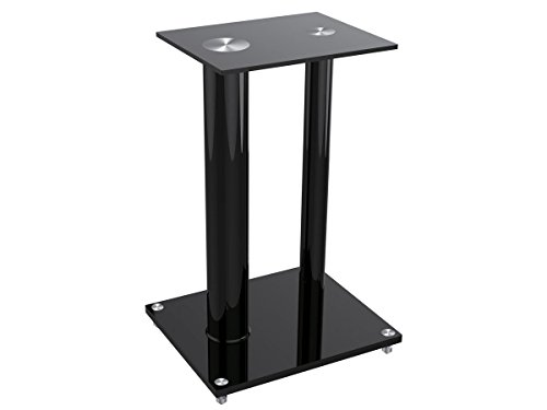 Monoprice Glass Floor Speaker Stands (pair), Black 112281