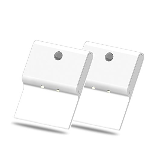 BrightOutlets Rectangle Battery Powered Motion Sensor LED Wall Light - No-Wire Installation (2 Pack)