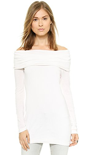 Three Dots Women's Long Sleeve Draped Boat Neck Tunic Top, Gardenia, (Long Sleeve Draped Neck)