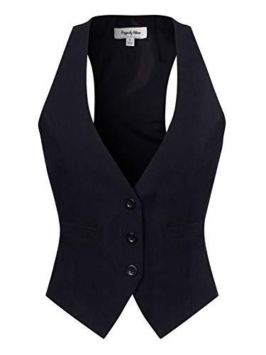 (Design by Olivia Women's V-Neck Three Button Economy Suit Vest Black XL)