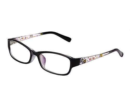 Agstum Kids Classic Rectangle Optical Frame Girls Boys Glasses Clear Lens (Black/Clear) ()