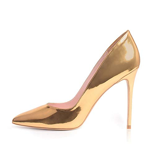 (High Heels, Women Pumps Shoes 3.94 inch/10cm Pointed Toe Stiletto Sexy Prom Club Heels GD 10 Gold)