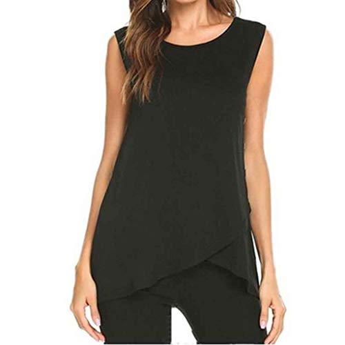 Pengy Women Solid Side Button Top Casual Short Sleeve Blouse Ladies Crew Neck Slim T-Shirt Tops Black