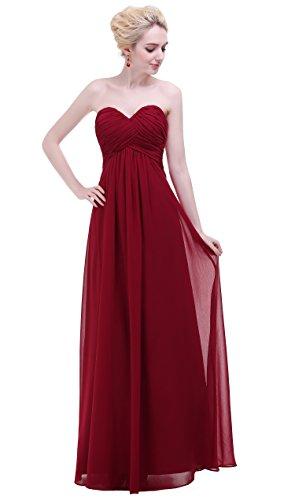 Esvor Sweetheart Bridesmaid Chiffon Prom Dress Long Evening Gown Burgundy 10