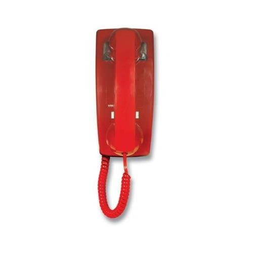 Viking Electronics-RED NO DIAL WALL PHONE WITH RINGER by WMU (Red Viking Dial Electronics No)