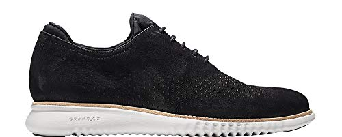 Mens Nubuck Shoes - Cole Haan Mens 2 Zerogrand Lined Laser Wingtip Oxford 8.5 Black Nubuck-Grey