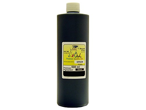 500ml Black InkOwl Premium Pigmented ink for EPSON printers using Durabrite ink - Made in the USA