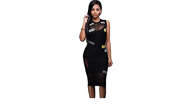 Carolina Dress 2017 Vestidos Ropa De Moda Para Mujer De Fiesta y Noche Casuales Elegante Negro (L) at Amazon Womens Clothing store: