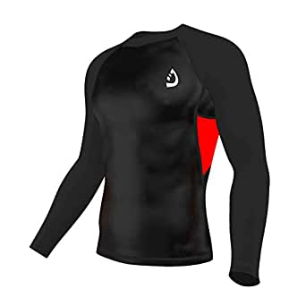 Deckra Men's Long Sleeves Compression Shirt Cool Dry Base Layer Compression Top Round Neck T-Shirt (Small, Black/Red)
