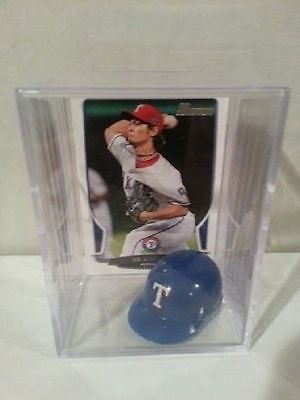 (Yu Darvish Texas Rangers Mini Helmet Card Display Collectible Bowman Auto Shadowbox Autograph)