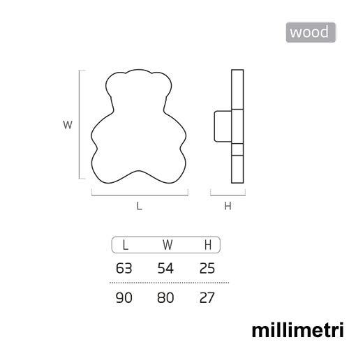 POMELLI Maniglie Mobile BEB/É bambino Orso legno laccata beige chiaro sabbia 63X54mm 6 Un