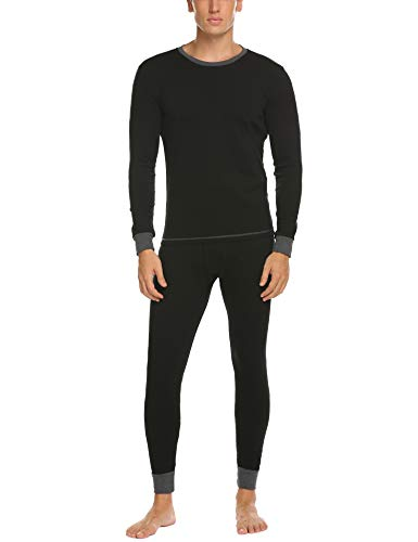Ekouaer Long Johns Set Winter Thermal Underwear Compression Shirts & Pants for Men Black L ()