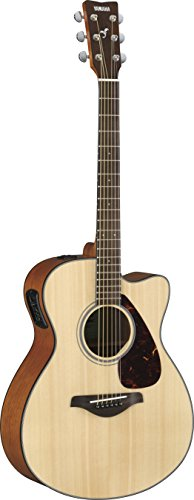 Yamaha FSX800C Small Body Solid Top Cutaway Acoustic-Electric Guitar, Natural (Best Mid Range Acoustic Guitar)