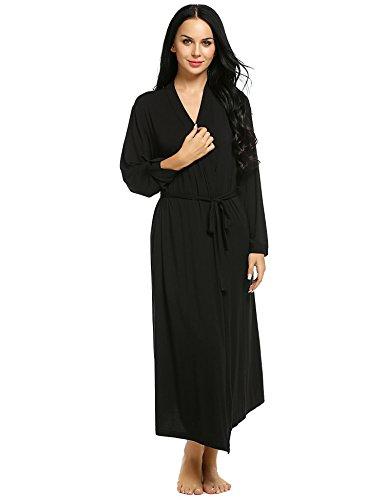 Acecor Women Soft Long Sleepwear Wrap Robe Bathrobe Nightgown (Black M) (Jersey Kimono)