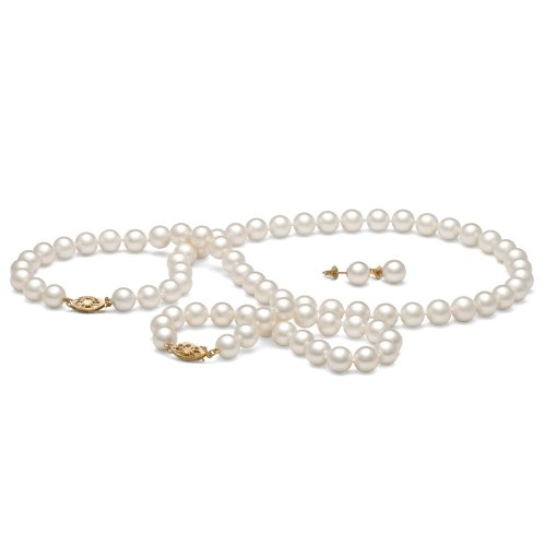 AA+ Quality, 7.5-8.0 mm, White Freshwater Cultured Pearl Set, 16-inch Necklace, 7.5-in... by Pearl Paradise