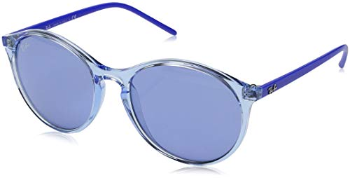 Ray-Ban RB4371 Round Sunglasses, Transparent Light Blue/Violet, 55 mm (Ray-ban Sonnenbrille Fall)