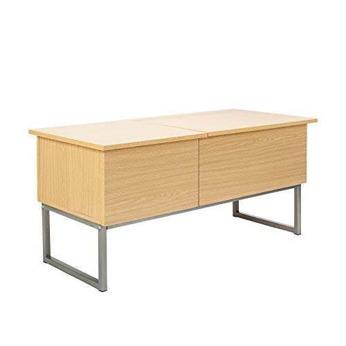 Blue Bright Wood Lift up Coffee Table Hidden Compartment Storage Drawer Living Room