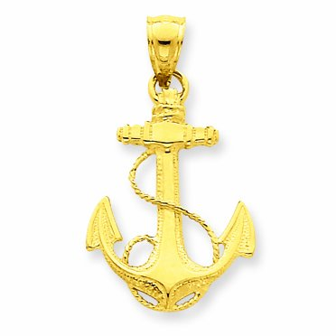 14 ct 585/1000 Or Anchor Charme Pendentif