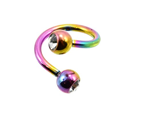 14G 7/16 Inch Rainbow PVD Plated 316L Surgical Steel Twist With CZ Gemmed Balls 487 - Lip Kix