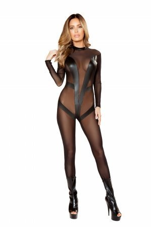 Mesh Catsuit - Roma Women's Plus Size 1pc Sheer Catsuit With V-Detail, Black, 3X/4X