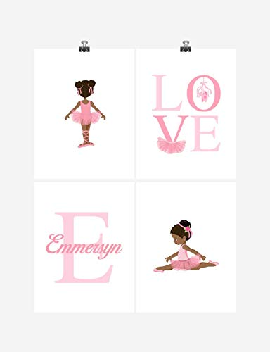 African American Ballerina Personalized Monogram Nursery Decor Wall Art Set of 4 (Ballerina Personalized Note)