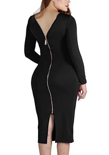 YMING Womens Plus Size Club Dress Long Sleeve Zipper Back Dress Black M Back Zipper Long Sleeve
