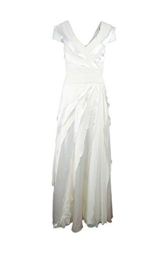 Tadashi Shoji Women's Cap Sleeve Tiered Silk Evening Gown,White, Size (Tadashi Pleated Dress)