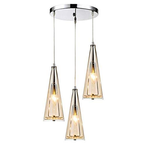 Modern Amber Pendant Light Round Glass Crystal Chandelier E14 3 Light Hanging Lamp for Kitchen Island Dining Room Table Bar Cafe Loft Balcony Living Room Lighting, B