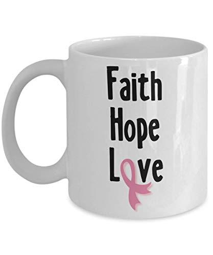 Breast Cancer Awareness Coffee Mug Faith Hope Love Pink - Pink Hope Ribbon Faith Love
