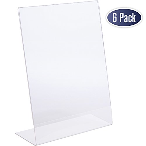 Slant Back Acrylic Sign Holder - 8.5 x 11 Inches Premium Portrait Ad Frames, Table Sign Display Holder, Clear Easel Style Frame, Plastic Brochure Holder for Home, Office, Store, Restaraunt (6 Pack) - Standing Portrait