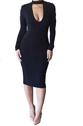 ALAIX Women's Keyhole Open-Chest Bodycon Long Sleeve Warm Pencil Party Evening Dress Black-M