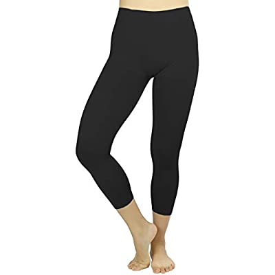 "ToBeInStyle Women's 27"" Seamless Capri Leggings - Black - One Size at  Women's Clothing store"