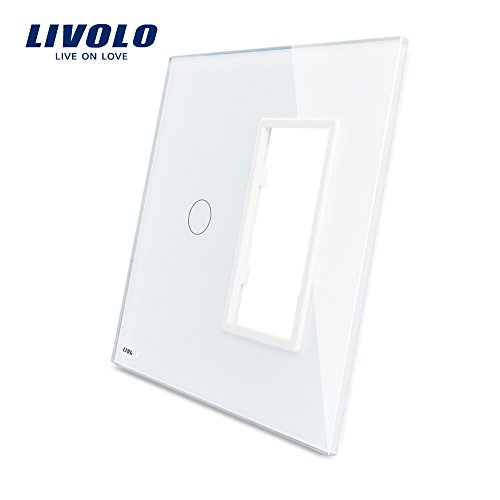 LIVOLO White Combination Wallplate US Standard 1Gang&1Frame For Wall Light Switch&Outlet,Luxury Tempered Glass Panel, Switch Accessory, C5-C1/SR-11