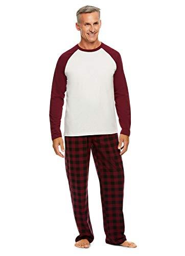 Haggar Men's 2-Piece Pajama Set   Long Sleeved Sleep Top & Plaid Pants L