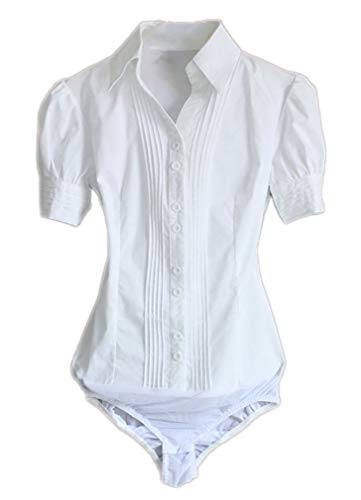 (Soojun Women Short Sleeve Button Down Career Shirt Bodysuit Blouse, (US 12, 1-White))