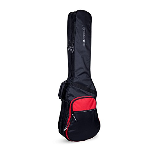 Crossrock CRSG106DBBR Double 2x Bass Guitar Gig Bag -With Padded Adjustable backpack Straps, Black/Red