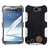 ASMYNA Rubberized Car Armor Stand Protector Cover Compatible With Samsung Galaxy Note II (T889/I605) , Black/White