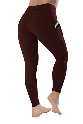 High Waisted Leggings with Pockets - Workout Leggings for Women Stretch Power Flex Yoga Pants - Full Capri Length (Large, Wine)