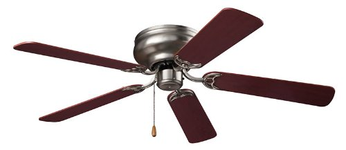 NuTone CFH52BS Hugger Series Energy Star Qualified Dual Blades Ceiling Fan, 52-Inch, Brushed Steel by Broan