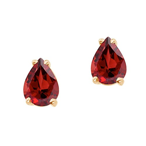 FB Jewels Solid 14k Yellow Gold Studs Genuine Red Birthstone Pear Shaped Garnet Earrings (1.5 - Shaped Garnet Pear Earrings