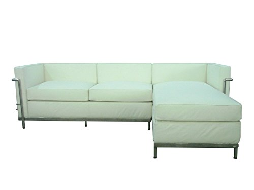Petit Chaise Sectional Sofa White Italian leather
