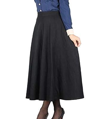 Abetteric Womens Plaid Wool Fall Winter Full Length Empire Waist Skirt